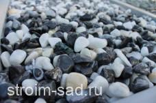 Щебень галтованый микс (белый-черный) фр.10-20 мм