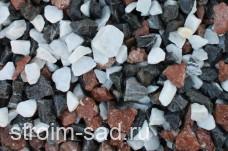 Декоративный щебень микс (белый-черный-розовый) фр. 20-40 мм.