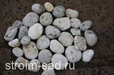Галька речная плоская (серо-белая) фр. 50-100 мм.