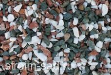 Щебень декоративный микс (белый-зеленый-розовый) фр. 10-20 мм.