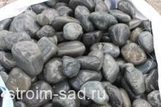 Темно-серый речной валун фр.100-300 мм.