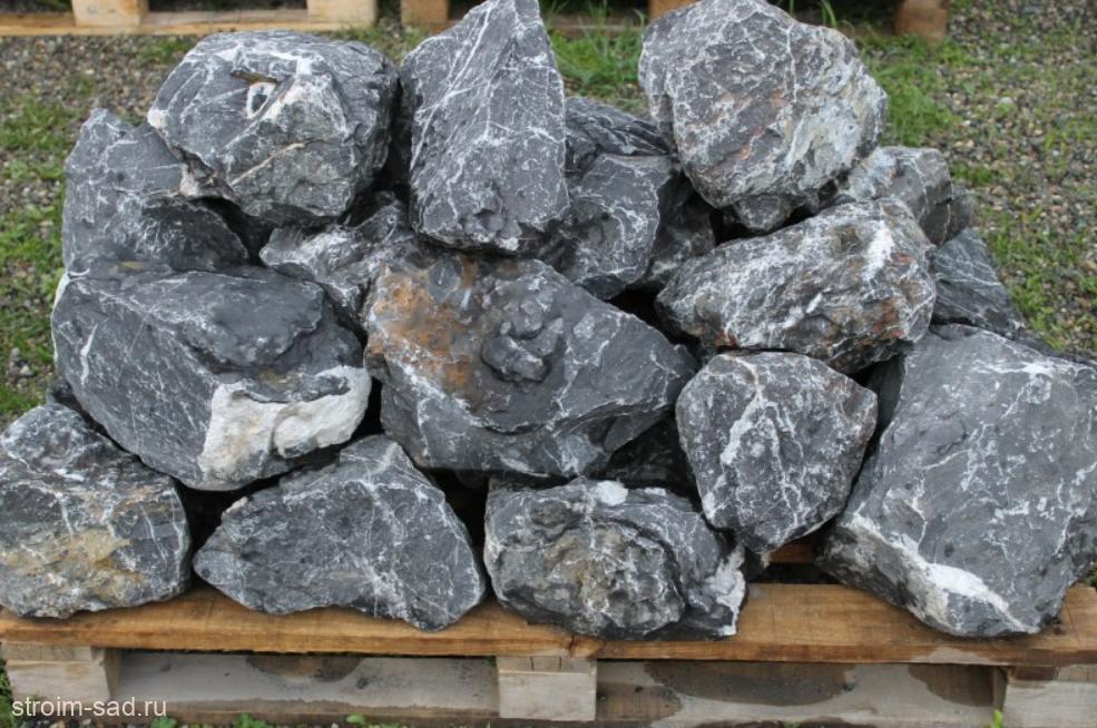 Черный мрамор скальник фр. 100-500 мм.