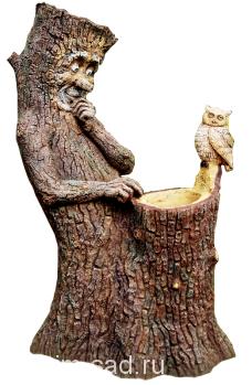 Пень с совой (цветник два кашпо)