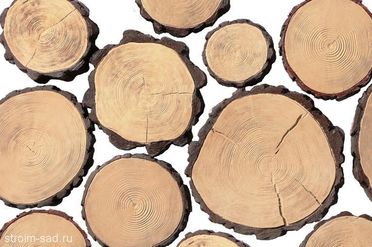 Плитка бетонная «Спил дерева» D 36-45 см, шт