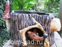 Авторская скульптура «Лиса», кашпо