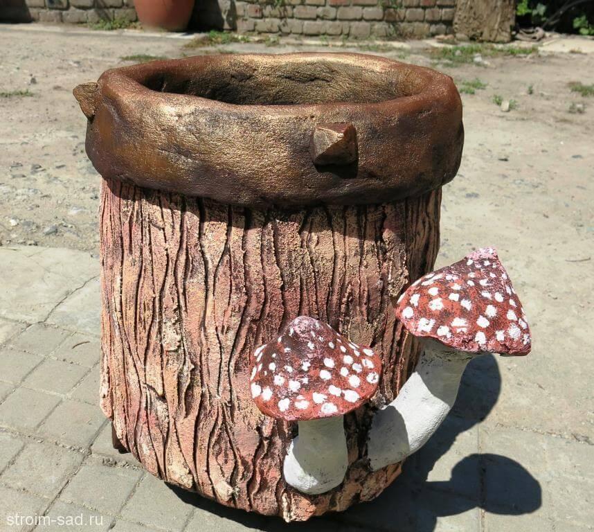 Авторская скульптура «Мухомор 2», кашпо