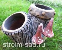 Авторская скульптура «Мухомор 1», кашпо