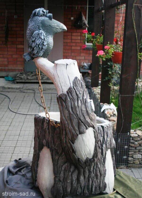 Авторская скульптура «Ворона на ветке», кашпо